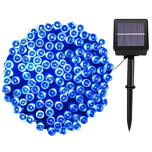 Solar Christmas Lights,72FT 200 LED 8 Mode Solar String Lights Waterproof Starry Fairy Light for Indoor/Outdoor Commercial Decor Ambiance Garden Backyard Wedding Holiday Party(Blue)