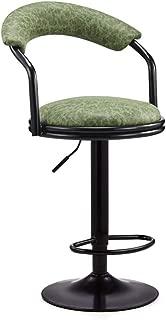 XUEYAN Tabouret Bar Petit dejeuner retro  pivotant reglable -60-80cm  Support Dossier Repose-Pieds Mat  Couleur Green