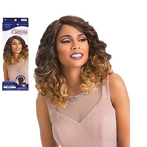 Sensationnel Perruque élégante en cheveux synthétiques Empress Lace Front Wig Glam Loose Custom Wig Couleur : SM4/27/613 (marron ombre/blond doré fonc