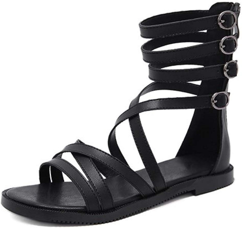JOYBI Women Fashion Gladiator Sandals Open Toe Summer Buckle Zipper Leather Slip On Rome Flat Beach shoes