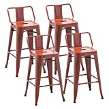 Alunaune 30' Metal Bar Stools Set of 4 Counter Height Stools with Backs Industrial Counter Stool Kitchen Bar Chairs Indoor Outdoor-Distressed Red