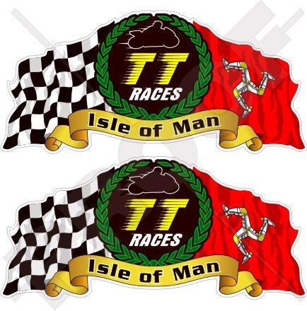ISLE of MAN Île de Man TT Courses MANX Moto GP Racing, 75mm Vinyle Autocollants, x2 Stickers