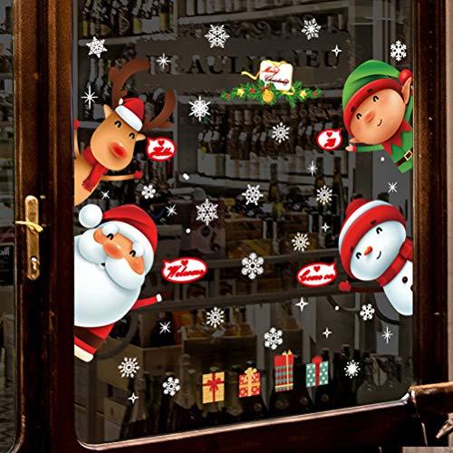 Tuopuda Natale Adesivi Vetro Murali Vetrofanie Finestre Adesivo Babbo Natale Pupazzo di Neve Alce Bambini Porta Aperta Natale Adesivi (Babbo Natale)