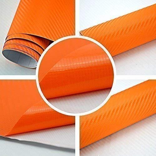 TipTopCarbon 6,58€/m² 3D Carbon Folie orange BLASENFREI 0,5m x 1,52m mit Luftkanäle Autofolie selbstklebend