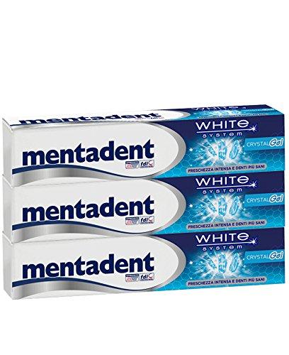 Mentadent Dentifricio White System - 1 Confezione con 3 tubi x 75 ml