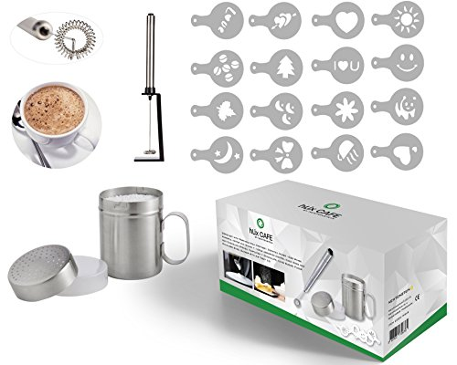 hLix CAFE - Kit Di 20 Pezzi Comprendente un Montalatte / Mixer Per Cocktail / Frusta Per Uova Portatile Con Un Motore Potente E Supporto + 16 Stampi Stencil Assortiti Per Caffè, Glassa E Cioccolata Calda + Shaker In Acciaio Inossidabile Per Cioccolato, Zucchero A Velo, Farina Con Coperchio A Tenuta D'aria