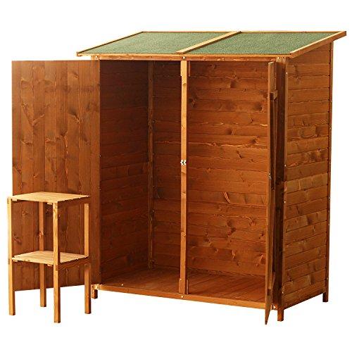 HOMCOM Garden Shed Wooden Timber Garden Storage Shed - Double Door - 160cm x 139cm x 75cm