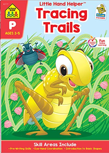 School Zone - Tracing Trails Workbook - Ages 3 to 5, Preschool, Pre-Writing, Intro to Shapes, Alphabet, Numbers, and More (School Zone Little Hand Helper Book Series)