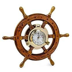 Nagina International Sailor's Premium Home Decor Time's Clock Nautical Brass Porthole Ship's Wheel   Deluxe Office Decor   Wall Decor   Birthday Gift   Christmas (16 Inches)