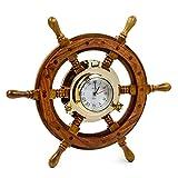 Nagina International Nautical Porthole Clock Ship Wheel | Roman Numerals (16 Inches)