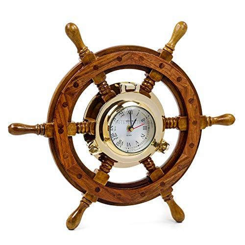 Nagina International Nautical Porthole Clock Ship Wheel   Roman Numerals (16 Inches)