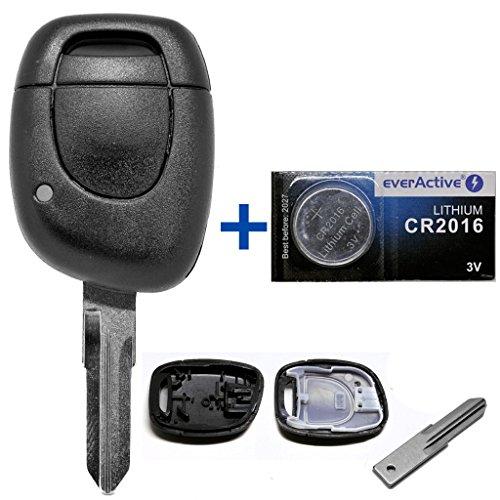 Auto Schlüssel Funk Fernbedienung 1x Gehäuse + 1x Rohling VAC102 + 1x CR2016 Batterie für Renault