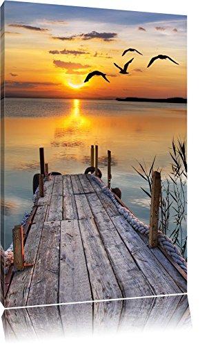 Steg bei Sonnenuntergang Format: 80x60 auf Leinwand, XXL riesige Bilder fertig gerahmt mit Keilrahmen, Kunstdruck auf Wandbild mit Rahmen, günstiger als Gemälde oder Ölbild, kein Poster oder Plakat
