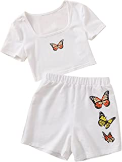 Romwe Girl's 2 Piece Outfit Butterfly Print Short Sleeve Crop Top and Shorts Set