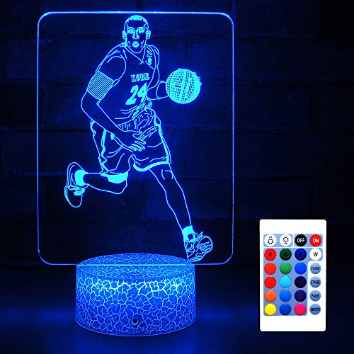 HYODREAM Kobe and Basketball Night Light Optical Illusion 3D LED Lamp for Adult or Kids as Perfect Gifts on Birthdays or Other Holidays