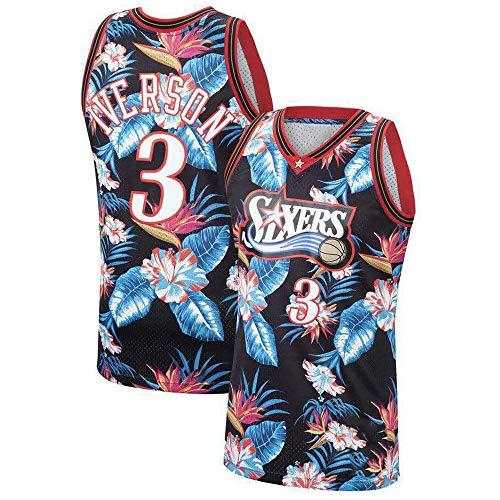 Sommer Basketball T-Shirt NBA 76ers 3# Allen Iverson, Herren Frau Basketball Uniform Klassisches Stickerei Top