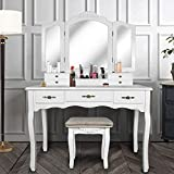 ENSTVER Vanity Beauty Station,Large Tri-Folding Necklace Hooked Mirrors,6 Organization 7 Drawers Makeup Dress Table with Cushioned Stool Set - White