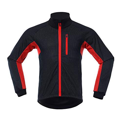 LY4U Fahrradjacke für Herren, winddicht, Softshell-Material, langärmelig, Winter, Fleece, atmungsaktiv, Sportjacke für Reiten, Laufen Gr. XL, schwarz/rot