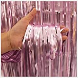 3ft x 8ft Fringe Foil Curtain Pastel Party Tinsel Backdrop Birthday Wedding Decoration (Pink)