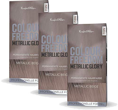 Colour-Freedom Metallic Glory Metallic Beige 3er Sparpack 2+1 permanente Haarfarbe | 3x 140ml