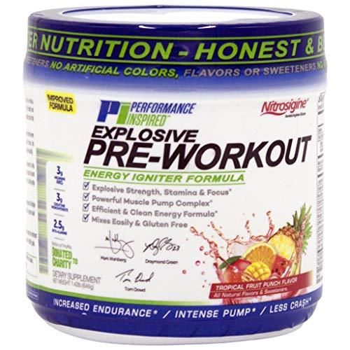 Performance Inspired Nutrition PreWorkout Powder - All Natural - G-Free & Vegan Formula - Contains Citrulline - Nitrosigine - Green Tea - Arginine - Beta Alanine - Tropical Fruit Punch - 32 Servings