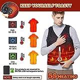 Vinmori Elektrische Beheizte Weste, Waschbare Größe Einstellbar USB-Lade Erhitzt Polaren Fleece Kleidung Winter Warme Weste (Schwarz)… - 2
