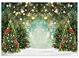 Allenjoy 7x5ft Christmas Wonderland PineTree Backdrop Glitter Polka Spot Winter Snowfield Photography Background Family Festival Celebration Baby Kids Birthday Party Selfie Pictures Photo Booth Props