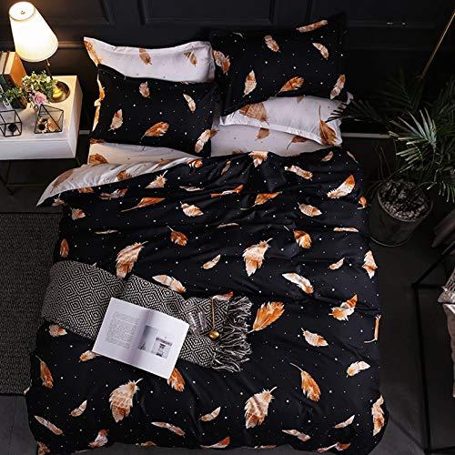 AMDXD Juego de sábanas de poliéster de 4 piezas, funda de edredón, sábana y funda de almohada (1 funda de edredón de 180 x 220 cm, 1 sábana de 230 x 230 cm, 2 fundas de almohada de 48 x 74 cm).