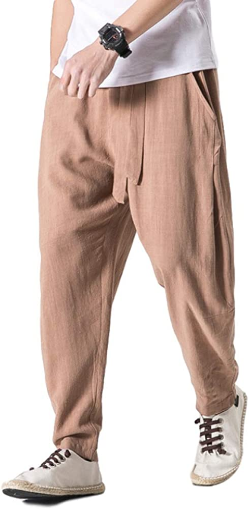 Men's Casual Pants Large Size Solid Color Fashion Cotton and Linen Loose Casual