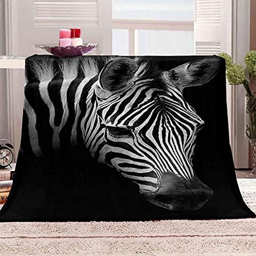WOISUM Decke Kuscheldecke Tier Zebra Microfaser Flanelldecke für Kinder & Erwachsene Tagesdecke Sofadecken 3D-Druck Weiche Leichte Durable Reisen Flauschig Warmen Steppdecke