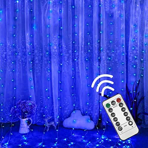 Preisvergleich Produktbild 300LED Lichtervorhang 3x3m, goodjinHH 8 Modi USB Stecker mit Fernbedienung Warmweiß Deko Lichterketten Vorhang Lichterkette für Weihnachten Außen Innen Zimmer Innenbeleuchtung (Blau)