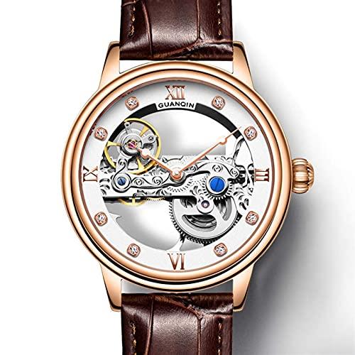 HKX Ver Relojes mecánicos de Negocios para Hombres, Relojes mecánicos Huecos automáticos, Relojes de cinturón, Relojes Huecos para Hombres, Cinturones, (para Hombres y Mujeres), marrón