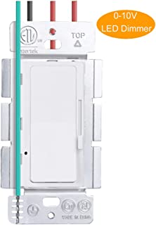 KEYGMA 0-10VLED DimmerSwitch, Single-Pole or 3-Way Slide Dimmer Switch for Dimmable LED Panel Lights, CFL, Halogen and Incandescent Bulbs, Wallplate Included, White