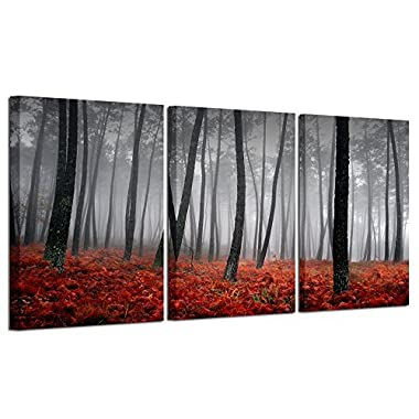 Modern Beautiful Autumn Nature Scenery Painting Wall Art Black And White Trees Foggy Forest With Red Leaves On Ground Canvas Decor For Home Artwork