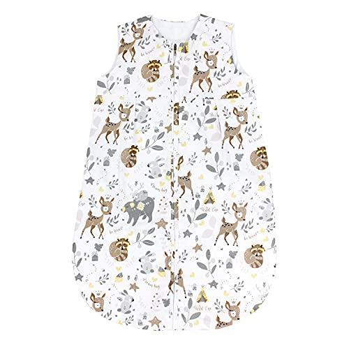 TupTam Baby Sommer Schlafsack Ärmellos Unwattiert, Farbe: Wilde Tiere, Größe: 62-74