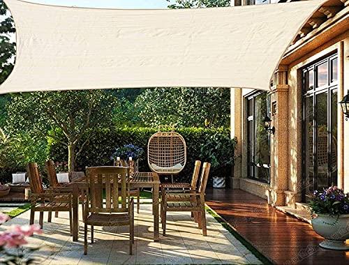 XISENOCI Toldo Rectángulo 2x3M Cortavientos Permeable Transpirable Resistente al desgarro Protección contra la Intemperie con protección UV para terraza de jardín al Aire Libre con Cuerdas, Beige-3x3