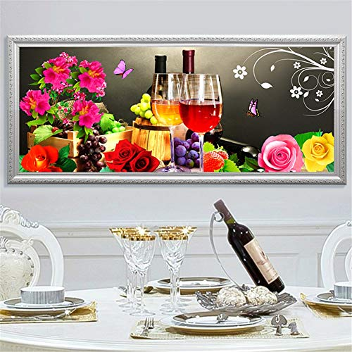 DIY 5d Diamond Painting Kit Fruta Vino Resina Full Drill Diamante Pintura Crystal Rhinestone Adults Punto Cruz Bordado Para Pared Del Hogar Decoración Crafts Square Drill 20x40cm/8x16in D3314