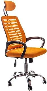 YAN QING SHOP Silla de Escritorio de Oficina en casa ergonómica, Silla de tareas de la computadora de Malla Alta con reposacabezas Ajustable, apoyabrazos y Soporte Lumbar (Color : Naranja)