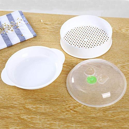 Adminitto88 Vaporizador de microondas de una Sola Capa Vaporizador de plástico Vapor de microondas con Herramienta de cocción con Tapa Tapa de Placa Resistente al Calor Olla Protector contra