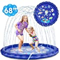 Desuccus Sprinkler for Kids, 3-in-1 Splash Pad Wading Pool Sprinkler & Splash Inflatable Water Toys for Children Outdoor Play Mat for Babies, Toddlers, Preschoolers (Space)