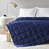 Comfort Spaces Reversible Weighted Blanket Velvet to Sherpa Adult-Glass Beads Filling All Season Soft Heavy Wraps-Box Quilted Cozy Warm Bed Cover, 48'x72' / 15lbs, Navy,CS50-1232