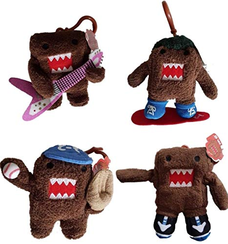 4 x DOMO Soft Plush Bag Clips/Clip-on/Keychains/Keyrings (Complete Set - 1 each Rocker, Sneakers, Baseball and Snowboard)