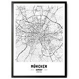 JUNOMI® München Poster XL Schwarz Weiss, DIN A2