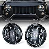 Xprite 7 Inch 75W LED Headlights Compatible with Jeep Wrangler TJ JK 1997-2018, with High/Low Beam, DRL and Amber Turn Signals Round Headlamps