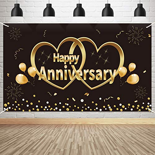Kauayurk Happy Anniversary Banner Backdrop Decorations, Extra Large Wedding Anniversary Party Poster Supplies, Black Gold Anniversary Decor Photo Booth for Outdoor Indoor(6X3.6ft)