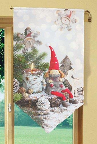 Home Fashion WEIHNACHTSWICHTEL Fensterbehang, Stoff, rot, 100 x 60 x 0,1 cm
