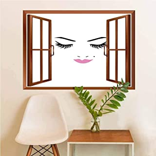 Eyelash Stickers Silhouettes Glass Window Closed Eyes Pink Lipstick Glamor Makeup Cosmetics Beauty Feminine Design Glass Window Fuchsia Black White W12xL18 INCH