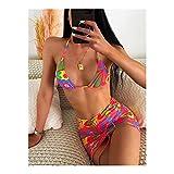 MASHUANG Llamativo Mujeres Halter Bikini con Falda de Envoltura, Impresión Floral Colorida, Traje de baño de 3 Piezas Traje de baño Sexy, 2021 Verano Diseño de otoño De Moda