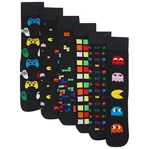 Mens 6 Pack Retro Games Socks Cotton Rich Designer Socks, Multi, UK 6-11 (EU 39-45) MENS
