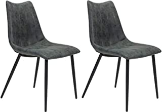 Zuo Modern 100760 Norwich Dining Chair (Set of 2), Vintage Black, Channel Tufting and Top Stitching, Molded Back and Seat, 250 lbs Weight Capacity, Dimensions 18.1
